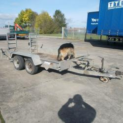 2007 INDESPENSION 3.5 TON TANDEM AXLE PLANT TRAILER, RAMPS, TOWING EYE-NOT BALL