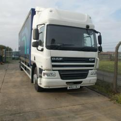 2012 (12 PLATE) DAF CF65.300 4x2 28ft RIGID CURTAINSIDE LORRY, 7/20 MOT, MANUAL